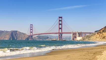 Panoramic view of Golden Gate Bridge, San Francisco.