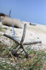Nature: Boat anchor deserted in the grass