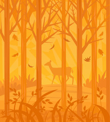 Autumn Scene - Decorative orange colored forest silhouette with a dear in the background. Eps10