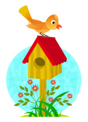 Birdhouse and Bird - Cute clip-art of a bird standing on a birdhouse roof. Eps10