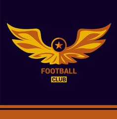 Vector logo template soccer football team. Wings of a bird, an eagle in heraldic style.