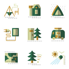Flat simple green icons for camping.