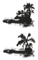 inky grunge summer scene with palms