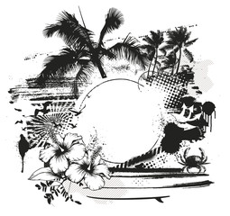 inky stencil summer scene with space to copy