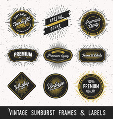 Set of frame and label with vintage sunburst design. Vintage light ray sticker and banner collection for premium quality product. Vector illustration