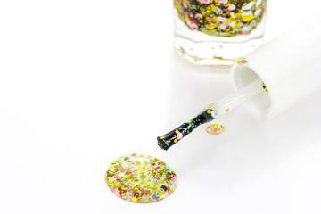 bright nail polish on white