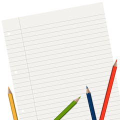 lined paper with pencils