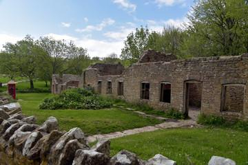 Ruined cottages in deserted Dorset village of Tyneham