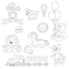 Toy set to be colored.