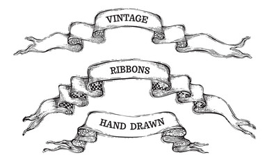 Vector set of vintage ribbon banners.