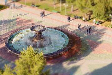Fountain in the park autumn