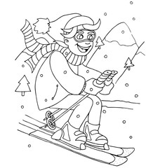 the boy coming down from the mountain on skis hand drawing  outline for coloring isolated on the white background