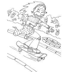 the girl coming down from the mountain on skis hand drawing  outline for coloring isolated on the white background