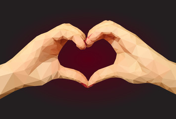 Two polygonal hands folded in the form of a heart on a black bac