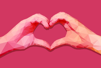 Two polygonal hands in form of a heart with red shades