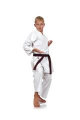 boy in kimono fighting