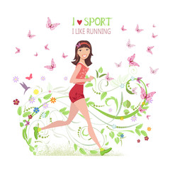 Greeting card with Sporty brunette jogging for your design