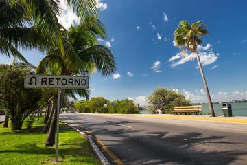 Caribbean street with  sign Retorno
