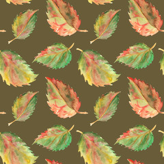 Autumn green yellow red leaves seamless pattern texture background