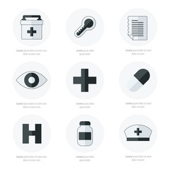 Flat icons set of medical tools Black and white color