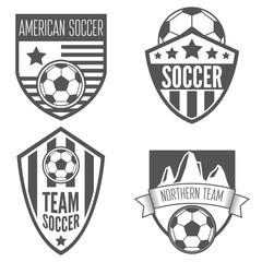 Set of vintage soccer football labels, emblem and designs