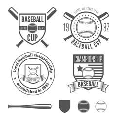 Set of vintage badge, emblem and elements for baseball team