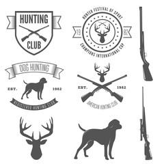 Set of vintage badge, emblem or logotype elements for hunting