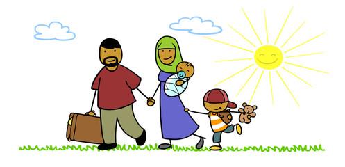 Familie als Flüchtlinge auf der Flucht