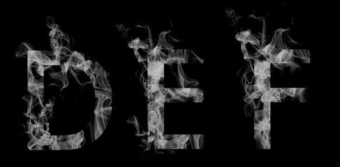 Font smoke. Letters D, E, F
