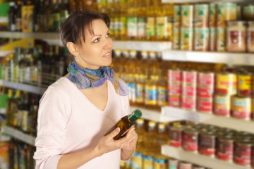 Interesting woman in the store