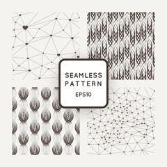A set of four vector seamless patterns. Polygons. Grid. Wavy