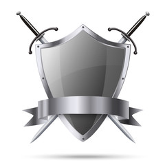 Metallic glittering shield and two swords with ribbon isolated