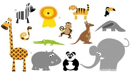 set of wild animals / vectors for children
