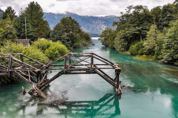 Abandoned bridge, Road of the Seven Lakes, Argentina
