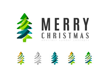 Set of abstract Christmas Tree Icons, business logo concepts