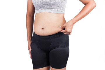 Women body fat belly front view
