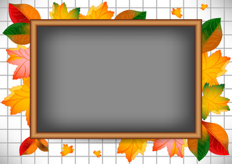 Card with blackboard and autumn leaves around. Back to school