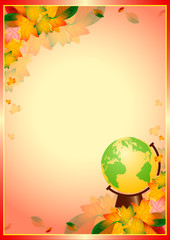 Awesome card with autumn leaves and globe