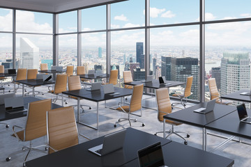 Workplaces in a modern corner panoramic office, New York city view, Manhattan. Open space. Black tables and brown leather chairs. A concept of financial international services. 3D rendering.