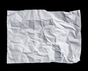 White crumpled paper isolated on black