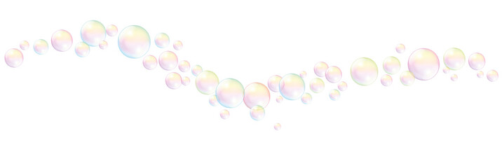 Blow soap bubbles wave pattern - isolated vector illustration on white background.