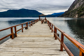 Pier on the lake, Road of the Seven Lakes, Argentina