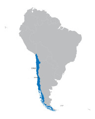 map of South America with indication of Chile