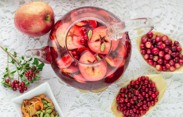 Fruit tea from apples, cranberries, cowberry  and cardamom
