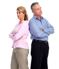 Stressed unhappy couple.