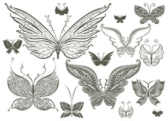 Set of butterflies silhouettes isolated on white background in vector.