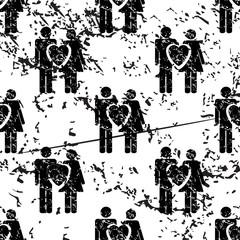 Love couple pattern, grunge, monochrome