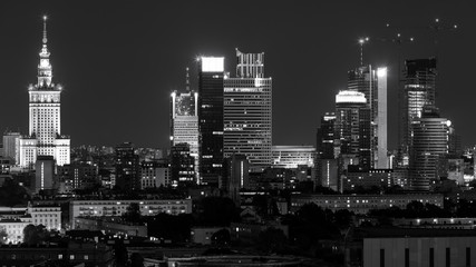 Warsaw city center at night