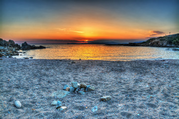colorful sunset in Sardinia