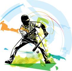 Illustration of baseball player playing